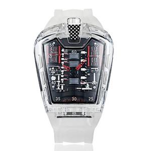 Relógios de relógios de moda masculina personalidade classic clássico relógio de quartzo luxo corrida livre silicone pulseira relógio transparente movemen relogio