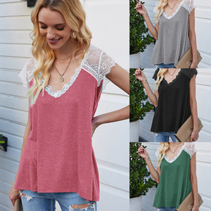 E-Baihui 2020 Summer European and American New Style Stitching Solid Color Sleeveless T-shirt, Eyelashes Lace Top Loose Vest 3311#
