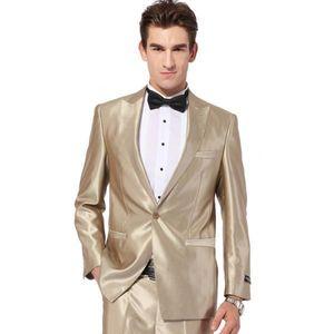 Wholesale- 2017 Gold Tuxedo Jacket Mens Wedding Suit Groom Tuxedos Prom Formal Suits Best Man Groom Suit (Jacket+Pants+Bow Tie)