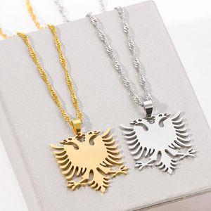 Edelstahl albanische Doppel-Adler Halskette Russische Albanien-Flagge Adler-Anhänger Emblem Halskette Ethnic Schmuck Geschenke