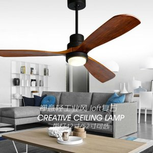 American Retro Ceiling Fan Light Nordic Modern Dinning Room Bedroom Living Room Cafe Solid Wood Fan Lamp