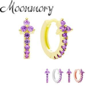 Moonmory Argent 925 Violet plein Zircon Hoop Huggies boucles d'oreilles pour les femmes Déclaration ronde en cristal Cercle boucle d'oreille Bijoux