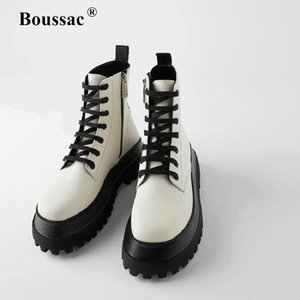 Boussac Mixed Color Platform Boots Women Lace up Cross-tied Motorcycle Boots Women Brand Design Ankle for