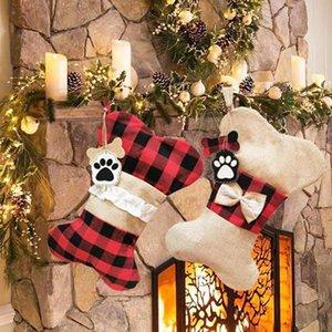 Bolsa de hueso de perro regalo Medias Bone Fish forma de la tela escocesa de Stocks colgantes decoración del árbol de Navidad Candy Bag HHA1576