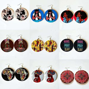 Wood Rock Africa Map Black Queen Wake Pray Slay Letters Brave Girls Earrings Vintage Party Jewelry Retro Wooden DIY Accessory