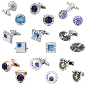 Lüks kristal mavi Kol Düğmeleri kaliteli düğün erkekler Kol Düğmeleri Kristal Kare Yuvarlak Altın Gümüş Lüks Vintage Weddin