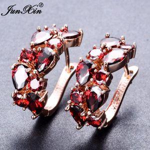 JUNXIN Luxury Женский большой обруч серьги розовое золото Заполненные красный белый циркон серьги мода ювелирные изделия Свадьба для женщин