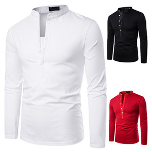 Solid color deep V design long sleeve T-shirt men's stand collar long sleeve pullover autumn men's