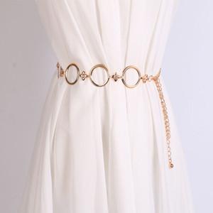 2020 Fashion Girls Metal Waist Chain Gold Plated Belt Decoration Belt for Dresses Women Circle Metal String Designer