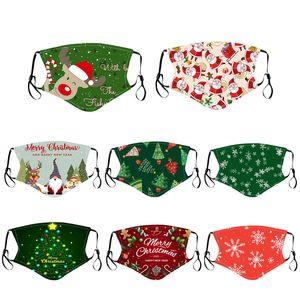 Designer de Noël débarbouillette PM2,5 Masque Filtre Coton Adultes Enfants Mode Lavable Pajama Party réutilisable Lumious masque