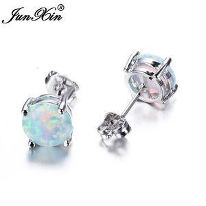 JUNXIN Bohemia Fire Opal Earrings For Women Ladies White Blue Red Purple Round White Gold Filled Double Side Stud Earrings