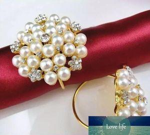 Pearls Rhinestone Napkin Rings Hotel Wedding ,Flower Shape pearl gold ring napkin holder Western Style Wedding Rings