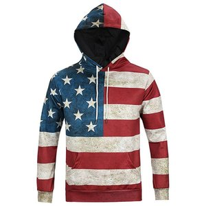 Men's Fashion Luxury 3D Hoodie Sweatshirt Sleeves High Quality American Flag Hooded Fit Couple Style Street Hip Hop Men's Hoodie Sweatshirt