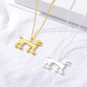 Stainless Steel Poodle Dog Necklace For Women Gold Silver Color Animal Pendant Necklace kpop collier Femme Aesthetic Jewelry