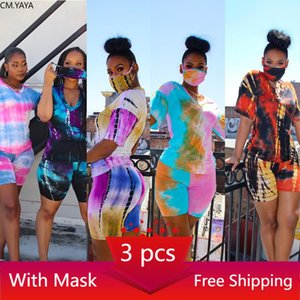 CM.YAYA Women Print 3 Pieces Sets Tracksuits Short Sleeve T-shirt Shorts 3 pcs Suit Night Fitness Sporty Outfits G6086 200919
