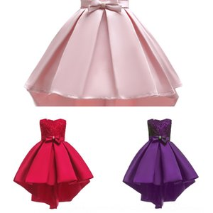 Girl lace trailing embroidered front piece Dress Princess dressTail skirt princess skirt satin performance dress host children's clothing kI