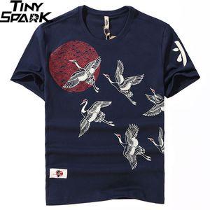 Japanese Streetwear T Shirt Crane Sun Print Mens Harajuku T-Shirt Summer Hip Hop Tshirt Cotton Short Sleeve Tops Tees Black 200925
