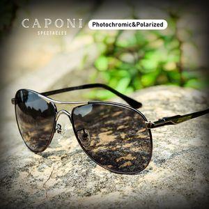CAPONI conduite photochromique haute qualité Lunettes de soleil Polarized classique Marque Lunettes de soleil pour les hommes Masculino CP8722