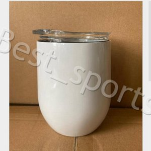 12oz Wine Tumblers Blank Sublimation Egg Cup Stainless Steel Vacuum Cup Coffee Mugs with Lid Beer Mugs with SEA SHIPPING YYA481 100pcs