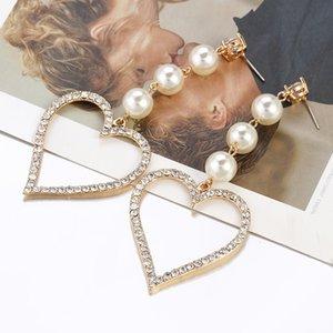 AENSOA Moda Kristal Kalp şekli Küpe 2020 New Pearl Drop Küpeler İçin Kadınlar Uzun Dangle Düğün Takı Brincos