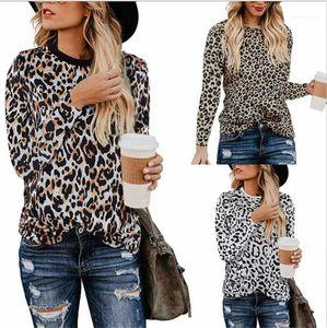 Outono Roupa Feminino Moda Leopard Impresso Womens camisetas Crew Neck manga comprida Womens Tops Primavera