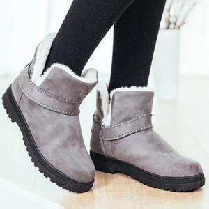 Snow Boots женщина зимы лодыжки Botas сапоги Нескользящие Плоские пинетки Держите Теплые дамы моды Овчина Женская обувь Повседневная обувь DHF535