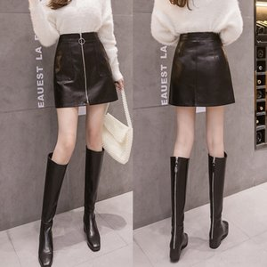 FvpvV slimming women's autumn 2020 new Korean style high line skirt autumn coat winter eZSaq Small Leather A- waist dress small leather and
