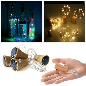10 LED النبيذ الشمسية سدادة زجاجة النحاس الجنية قطاع سلك الحزب في الهواء الطلق الديكور الجدة ليلة مصباح DIY كورك ضوء سلسلة FY8124