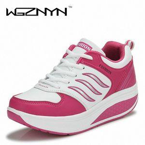WGZNYN 2020 Новое прибытие Повседневная обувь Женщина Рост Увеличение похудения Свинг обувь дышащая воздуха Mesh Платформа qSr0 #