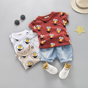 Fashion Baby Boys Clothing Sets Summer T-Shirt dinosaur Cartoon Children Boys Clothes Suit for Kids Outfit Denim Outfit Infant