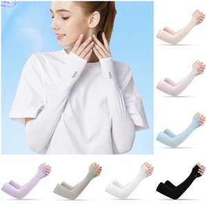 Ship Outdoor Sports Ice Silk Sleeve Ice Cool Breathing Sunscreen Sleeve Summer Gloves Arm Warmers for Cycling Riding Training DHB1490