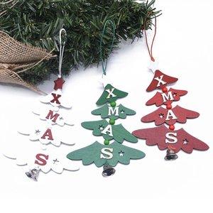 1/2 / 3Pcs Arbre de Noël forme de coeur de Bell Star Pendant Noël en bois Décorations pour l'arbre en bois Goutte Boule de Noël Décoration
