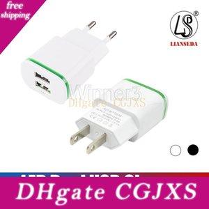 Carregador de parede frescos Led Dual USB Charger portas do adaptador Início Travel Power 5v 2 .1a 1a Ac nos EU Plug Para Samsung Huawei