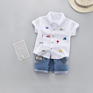 Baby Toddler Boys Clothing Casual Summer Cotton Set Shorts Sleeve Car Print Cute Shirts Denim Pants Holiday Party Suit