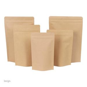 11 Größen Braune Kraftpapier Stehaufentaschen Wärmesiegelbare Wiederverzichtungs-Reißverschluss-Tasche Innenfolie Lebensmittelaufbewahrungspaketasche mit Tränenkerch DBC BH4085