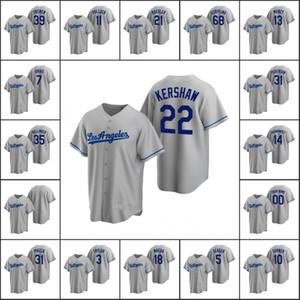 Los AngelesDodgers Men # 22 Clayton Kershaw 39 Blake Treinen 35 Cody Bellinger Personalizado Mulheres Juventude GreyRéplicaestrada Jersey