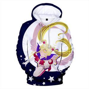 Rholycrown Hot Anime Sailor Moon Felpe Donna Uomo Inverno Pullover 3D con cappuccio oversize Felpe Sailor Moon ragazze 3D con cappuccio