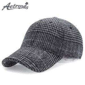 [AETRENDS] 2020 New Winter Plaid Woollen Casquette de baseball Hommes Femmes Coton Snapbacks Casquettes Z-6246