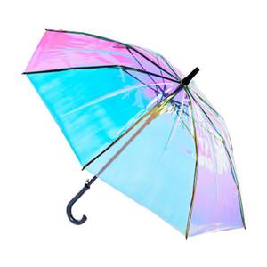 Umbrella Unicorn cores do arco-íris Dropshipping Alterar Laser Crianças Umbrella Guarda-chuvas Guarda-chuvas Film Crianças Laser Transparente Crianças dNIxS