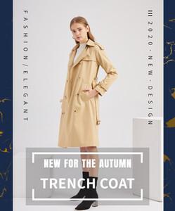 2020 new European windbreaker women long cotton fashion classic windbreaker long sleeve lapel