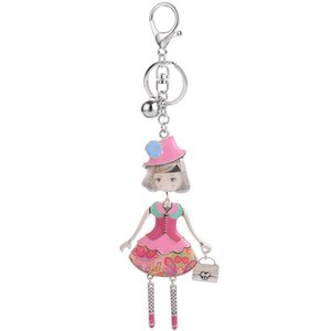 Designer Key Ring Fashion Pink with a Alloy Metal Car Pendant Key Chain Rings Female Doll Bag leather Key Chains For Girls Women
