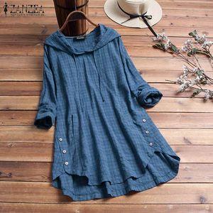 ZANZEA Women Blouse 2020 Autumn Plaid Checked Hoodies Long Sleeve Shirt Casual Linen Tunic Tops Hooded Blusas Chemise Femme 5XL