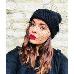 Bonnet d'hiver pour les femmes Chapeau tricoté automne chaud dames Cap-coréen de couleur unie avec Cap Sexy dentelle Veil # T1P