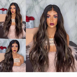 Ombre Dark Blonde Body Wave 360 Lace Frontal Human Hair Wigs for Black Women 150Density Glueless Full Lace Wigs with Baby Hair