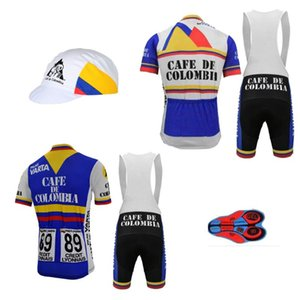 colombia retro cycling jersey set man short sleeve bicycle clothing bib shorts 9d gel breathable customized