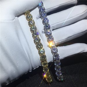 Charm Tennis bracelet 8mm 5A cubic zirconia White Gold Filled Engagement bracelets for women wedding accessaries 2 colors select