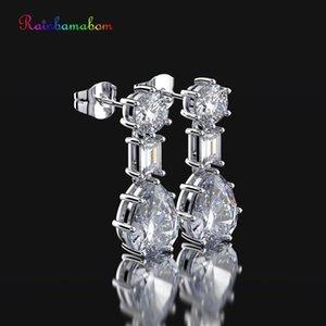 Moisanit Taş Damla Dangle Diamonds Küpe Takı Toptan düzenlendi Rainbamabom 925 Katı Gümüş Su Damlası