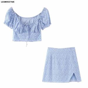 2020 new fashion brand summer T Shirt and Skirt Set Short Floral Petal Sleeve Tassel O-neck Cotton linen women set