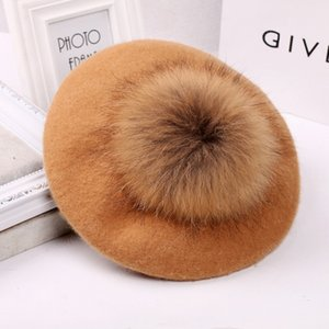 Autumn Winter Pompom Wool Berets Women Vintage Artist Beret Hat Girls Knitted Cap Outdoor Travel Warm Painter Cap French Hat