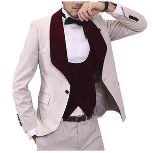 Elegant Shawl Lapel Men Suit Slim Fit 3 Pieces (Jacket+Vest+Pants) Wedding Groom Tuxedos Formal Suit Custom Made Polyester Prom Evening Suit